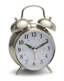 Silver Alarm Clock. Chrome Metal Alarm Clock Isolated on a White Background Stock Images
