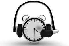 Silver Alarm Clock With Headphone Royalty Free Stock Images