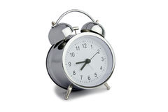 Silver alarm clock Royalty Free Stock Images