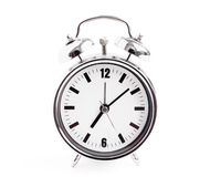 Silver alarm clock isolated on white background Royalty Free Stock Photography