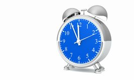 Silver Alarm Clock with Ringer Stock Photography