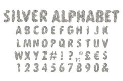 Silver alphabet on a white background. Complete alphabet set in brushed chrome objects royalty free illustration