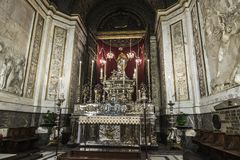 Silver altar of Palermo Cathedral in Palermo, Sicily, Italy. Silver altar dedicated to the Virgin Mary in the cathedral of Palermo in the old town of Palermo in Stock Photo