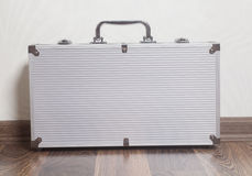 Silver aluminum briefcase Royalty Free Stock Images