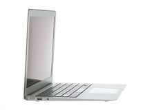 Silver aluminum laptop computer notebook side Stock Image