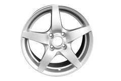 Silver aluminum wheel rim isolated Royalty Free Stock Images