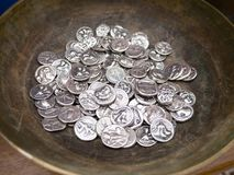 Silver  ancient coins Royalty Free Stock Images