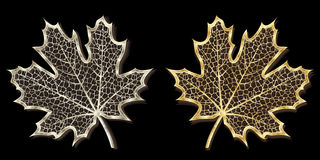 Silver And Golden Hand-made Maple Leaves Stock Image