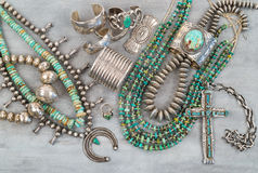 Silver And Turquoise Native American Jewelry. Royalty Free Stock Photos