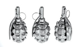 Silver anti-personnel grenades Royalty Free Stock Photography
