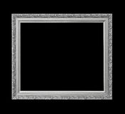 Silver antique picture frame for oil painting isolated on black Stock Photos