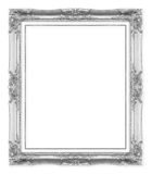 Silver antique picture frames. Isolated on white. Background royalty free stock images