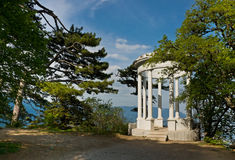 Silver arbor near Yalta, Crimea. Beautiful white arbor stock image