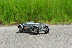 Silver arrow - Mercedes-Benz SSKL 1931 racing car scale model. Vintage race car from 1931 from the german producer Mercedes Benz stock photos