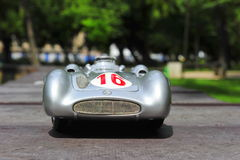 Silver arrow racing car: Mercedes-Benz W196R Streamliner body. Beautiful Mercedes-Benz Silver Arrow Streamliner body driven by the famous driver Stirling Moss Stock Image
