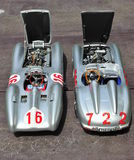 Silver arrows racing cars: Mercedes-Benz 300 SLR and Mercedes-Benz W196R Stock Photography