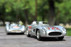Silver arrows racing cars: Mercedes-Benz 300 SLR and Mercedes-Benz W196R Stock Images