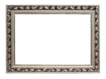 Silver art frame isolated on white Royalty Free Stock Photography