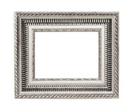 Silver art frame isolated on white background Royalty Free Stock Images