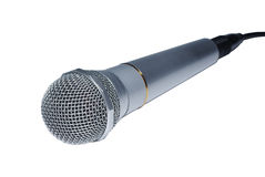 Silver audio microphone. Close up isolated on white background stock images