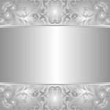 Silver background. With abstract floral ornaments Royalty Free Stock Images