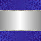 Silver background. Blue and silver background with ornaments Royalty Free Stock Photo