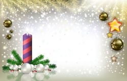 Silver Christmas background with candle Royalty Free Stock Image
