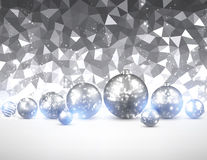 Silver background with Christmas balls. Gray geometric background with Christmas balls. Vector illustration stock illustration
