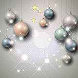 Silver background with Christmas baubles. Abstract silver background with Christmas baubles and stars Stock Images