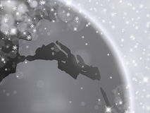 Silver background with earth, snowflakes, bubbles and star. S Royalty Free Stock Images