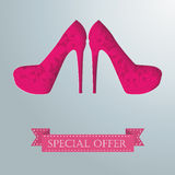 2 Silver Background Floriad High Heels Royalty Free Stock Image