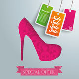 Silver Background Floriad High Heels Price Stickers. Silver background design with red high heel. Eps 10  file Stock Photography