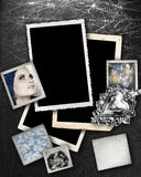 Silver background with frames. Silver background with grunge photo frames with Christmas theme pictures inside and space for text Stock Photo