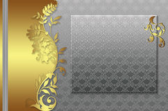 Silver background with gold elements Stock Images