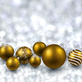 Silver background with golden christmas balls. Silver defocused with golden christmas balls background. Bright bokeh. Vector illustration Stock Image