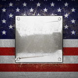 Silver background painted to US flag Stock Photo