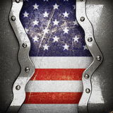 Silver background painted to US flag Royalty Free Stock Photo