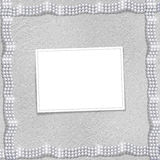 Silver background with white beautiful pearls Royalty Free Stock Images