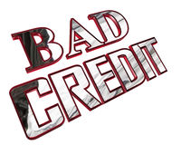 Silver bad credit text on a white background Royalty Free Stock Images