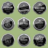 Silver badge collection. Set of silver luxury badges Royalty Free Stock Images