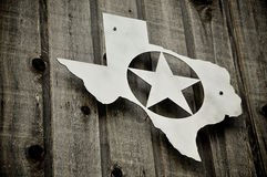 Silver badge of Texas with star