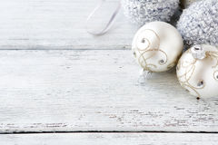Silver ball on the boards. Christmas Stock Photography