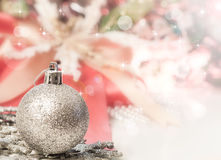 Silver ball for Chirstmas. Silver ball decorated accesorry for Chirstmas Royalty Free Stock Image