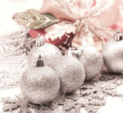 Silver ball for Chirstmas. Beautiful silver ball for Chirstmas decoration Royalty Free Stock Photography