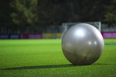 Silver ball for  fitness Stock Photography