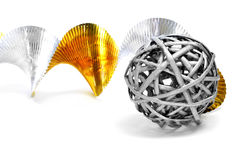 Silver ball and golden and silver garland Royalty Free Stock Image