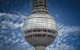 The silver ball of tv tower in Berlin. The silver ball sphere of tv tower in Berlin against the blue sky Stock Image