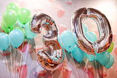 Silver balloons with ribbons - Number 30. Party decoration, anniversary sign for happy holiday, celebration, birthday. Carnival. Metallic design balloon stock image