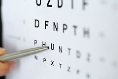 Silver ballpoint pen pointing to letter in eyesight check table Royalty Free Stock Photo