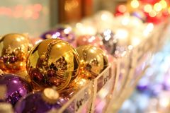 Silver-balls for Christmas tree. Silver-balls in multiple colors, in a shallow depth of field shot Royalty Free Stock Photo